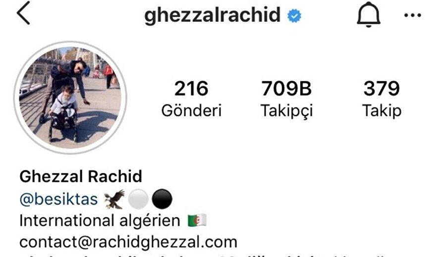 Ghezzal'ın profilinde daha önce Beşiktaş yazısı ve kartal emojisi yer alıyordu