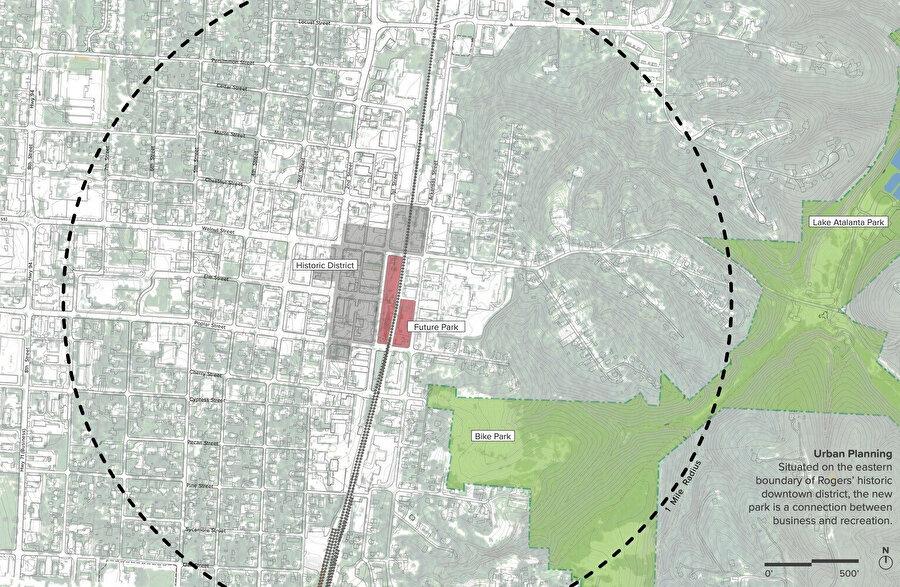 Şehir planlamasında Railyard Park'ın yeri.