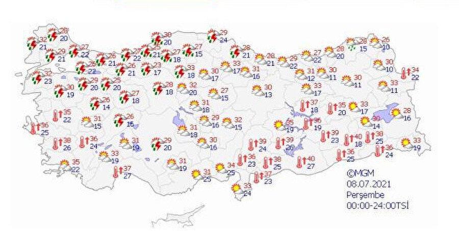Meteoroloji'nini paylaştığı hava durumu haritası