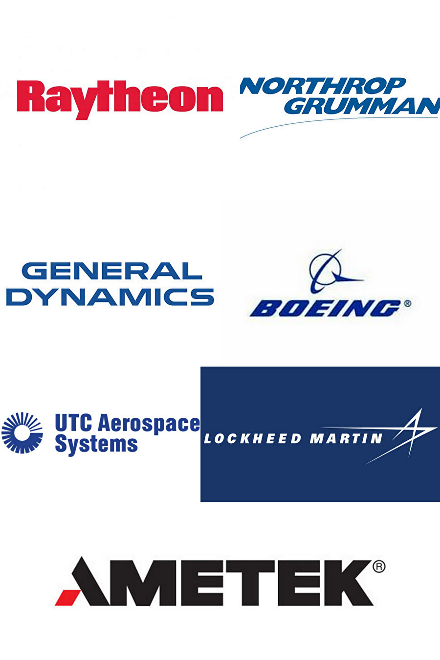 Fotoğraf 3: İsrail'e silah temini noktasında ciddi bir rolleri olan Amerikalı özel şirketlerden bazılarının logoları.