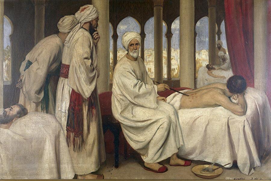 Ernest Board tarafından çizilmiş, cerrahî alanında getirdiği yeniliklerle tanınan Endülüslü tıp âlimi Ebu'l Kasım El-Zehravi'nin dersini betimleyen bir resim.