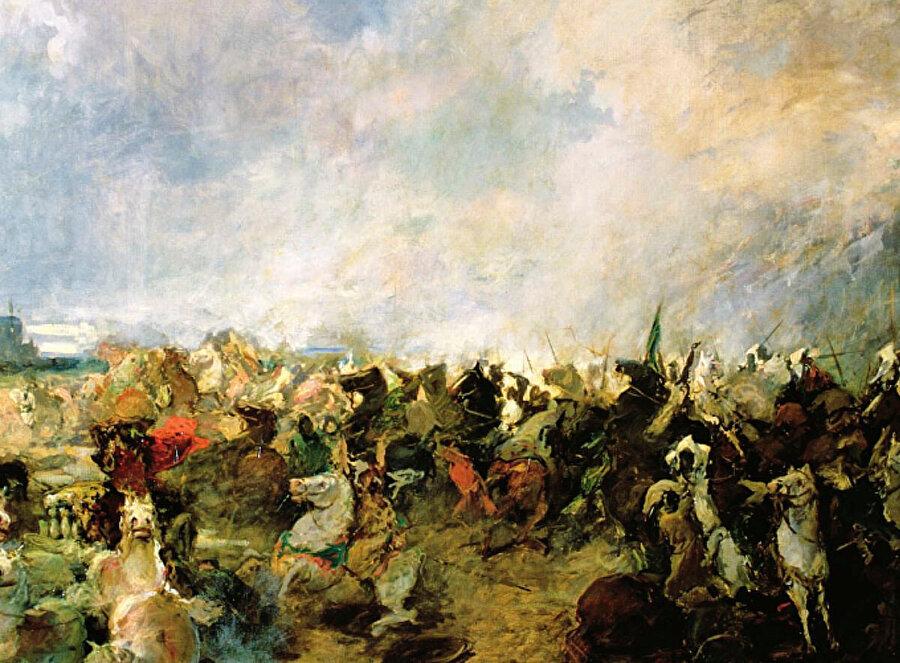Guadalete Muharebesi, Hristiyan askerler Müslüman atlılarından kaçıyor. Resim: Salvador Martinez Cubells.