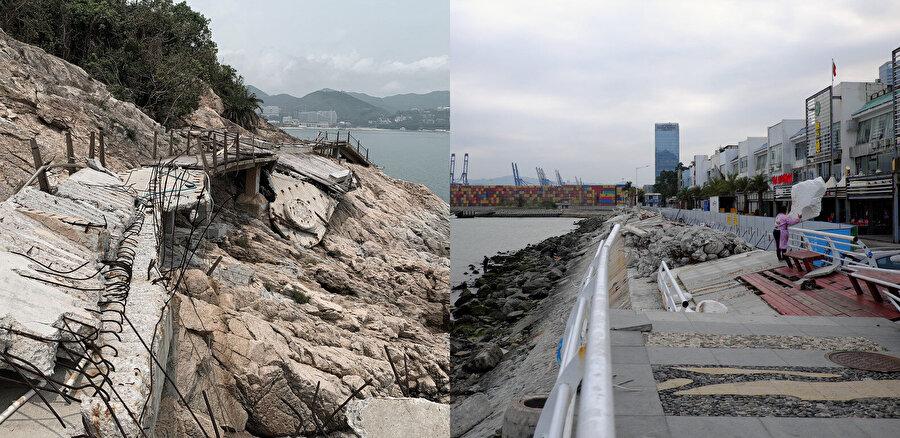Sahil yolu, 2018'deki tayfun sırasında tahribata uğruyor.
