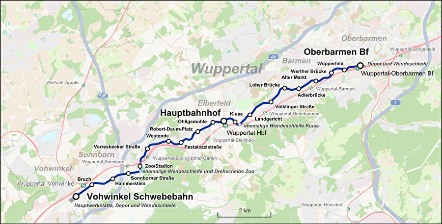 Wuppertal hattının duraklarını gösteren bir harita.