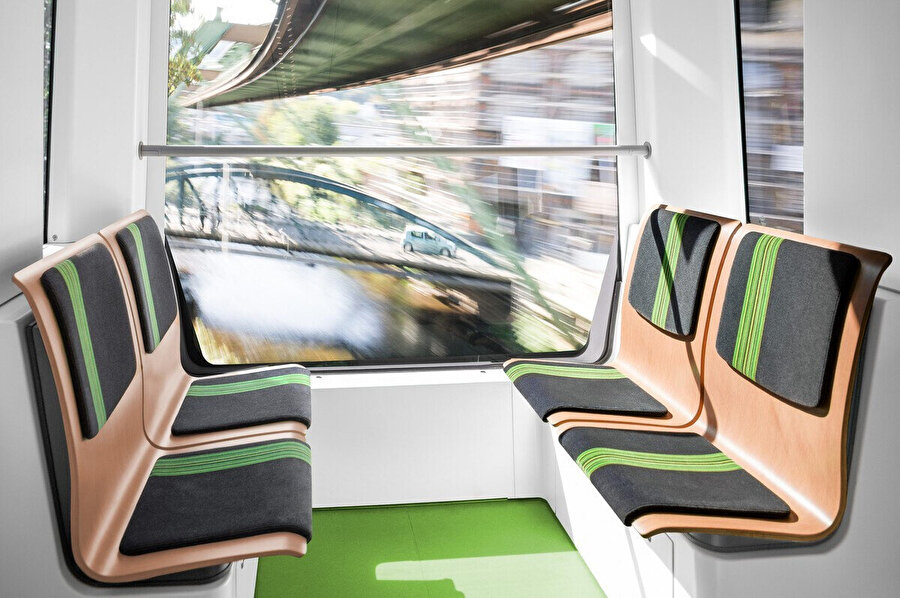 Wuppertal Demir Yolu araçlarının yenilenen iç mekan tasarımı.