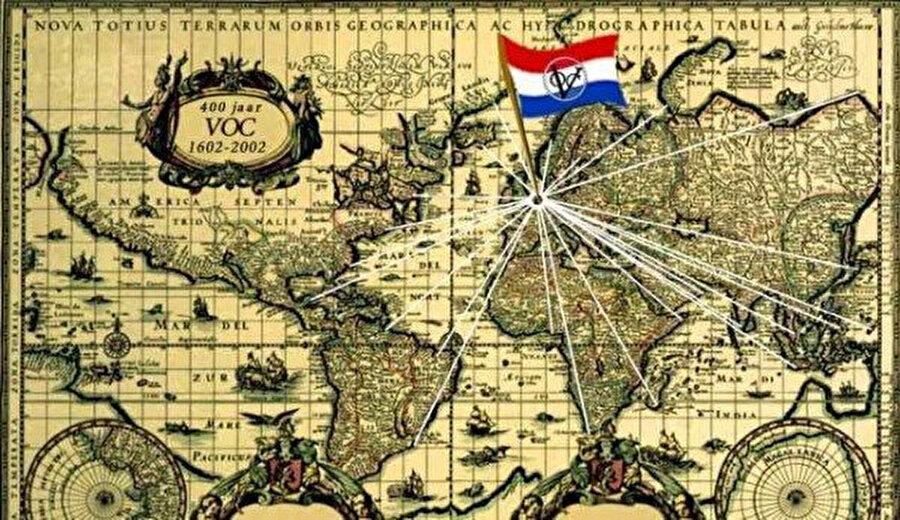 Hollanda Doğu Hindistan Şirketi'nin hakimiyet alanını gösteren bir harita.
