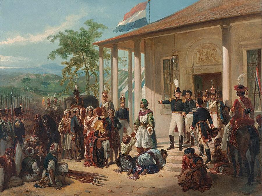 1825'teki Cava isyanını Hollandalıların bastırışını tasvir eden bir tablo.