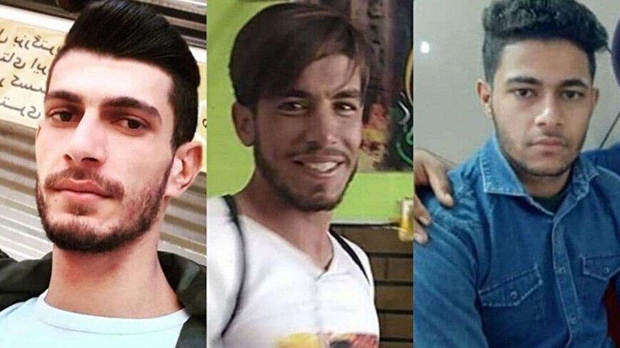 Huzistan'daki su krizine karşı düzenlenen gösteriler sırasında öldürülen üç sivil protestocu, soldan sağa görülüyor: Ahvaz'da öldürülen Ali Mazrayeh, Şadgan'da öldürülen Mustafa Nemavi ve Kut Abdullah'ta öldürülen Kasım Huzeyri.