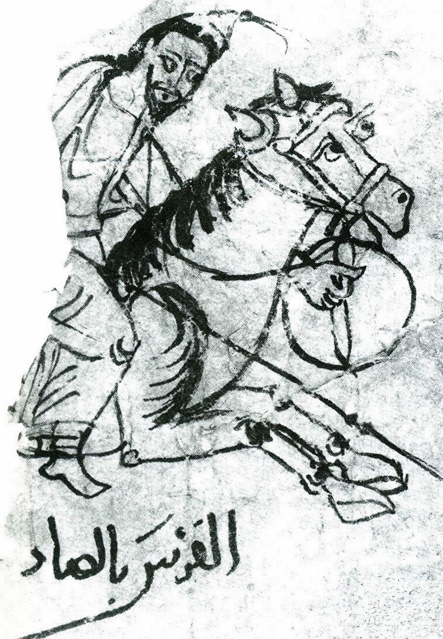 » Kuzey Afrika fatihi: 10. yüzyıla ait bir Arap el yazmasında yer alan bu çizimde, Müslümanların Kuzey Afrika'daki süratli ilerleyişini sağlayan en önemli unsurlarından biri olarak görülen Arap atı resmedilmiş. Özel yemlerle beslenen bu atlar, Avrupalı muadillerinden güç ve hız bakımından oldukça üstündür.