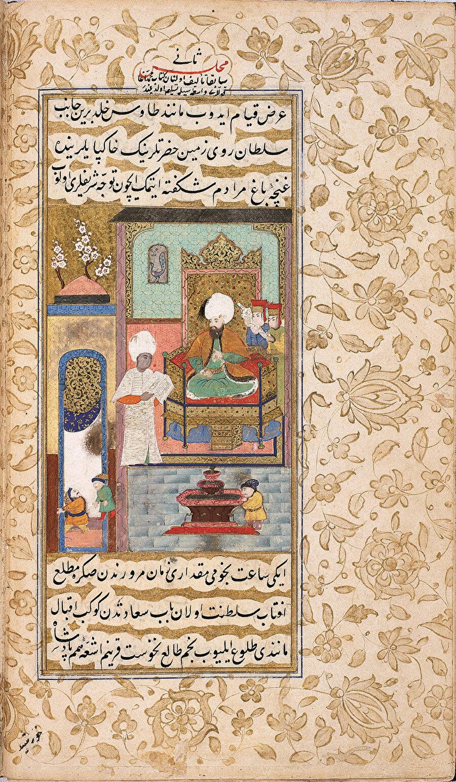 » Habeşî Mehmed Ağa III. Murad'a kitap sunarken Kültür politikalarına da yön veren ağalar pek çok resimli kitapta karşımıza çıkıyor.
