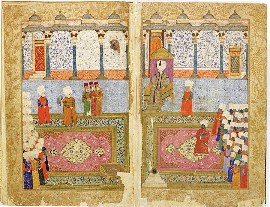 » Mustafa Ağa'nın Şehnâme-i Türkî'yi II. Osman'a takdimi Bu ilgi çekici takdim töreni cülus tasvirlerini anımsatıyor.