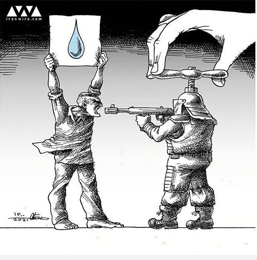 Güvenlik güçlerinin su kesintilerini protesto eden göstericilere ateş açmasını eleştiren bir karikatür.