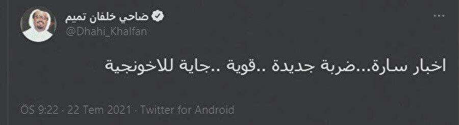22 Temmuz günü twitter üzerinden yaptığı paylaşım ise Tunus'ta yaşananların kimler tarafından tezgahlandığına dair en açık delil.