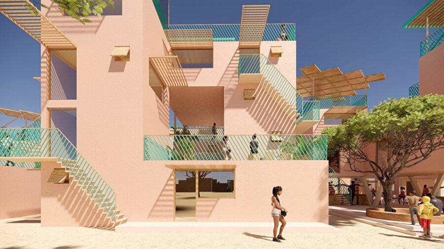 Yapı blokları, birbiriyle uyum içerisinde konumlandırılıyor.
