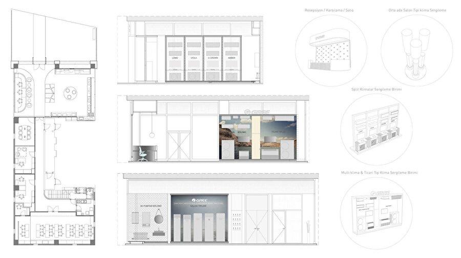 Soldan sağa; mağaza planı, sergileme alanı, duvar tasarımları ve detaylar.