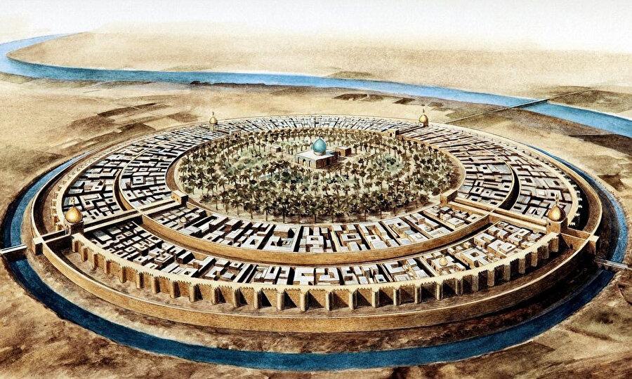 Bağdat'ın şehir planını gösteren bir tasvir.
