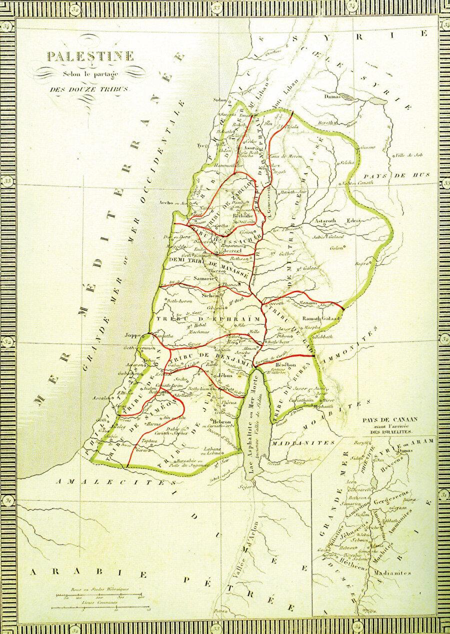 » Bir zamanlar Filistin: Filistin'in 20. yüzyıldaki sınırlarını gösteren bir harita.