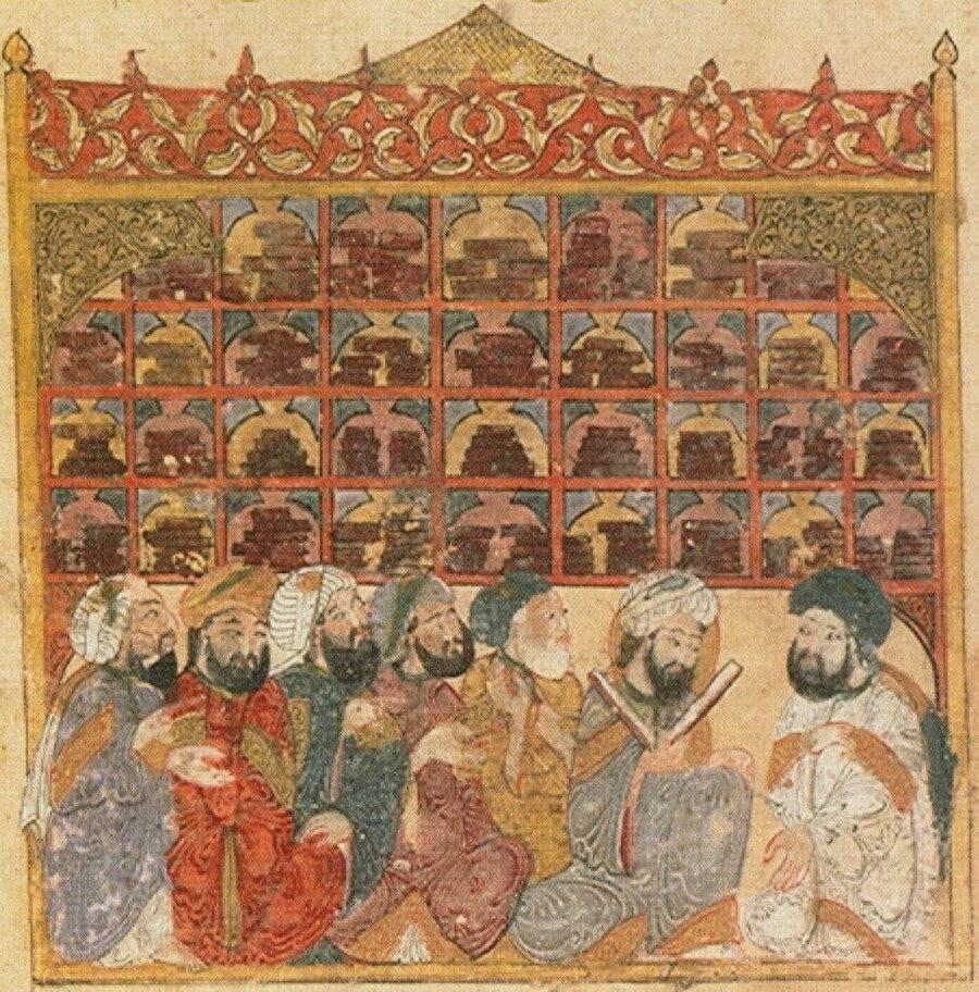 Abbasi kütüphanesindeki alimler. El Hariri Makamatı, Yahya ibn Mahmud el-Vasıti İllüstrasyonu, 1237.