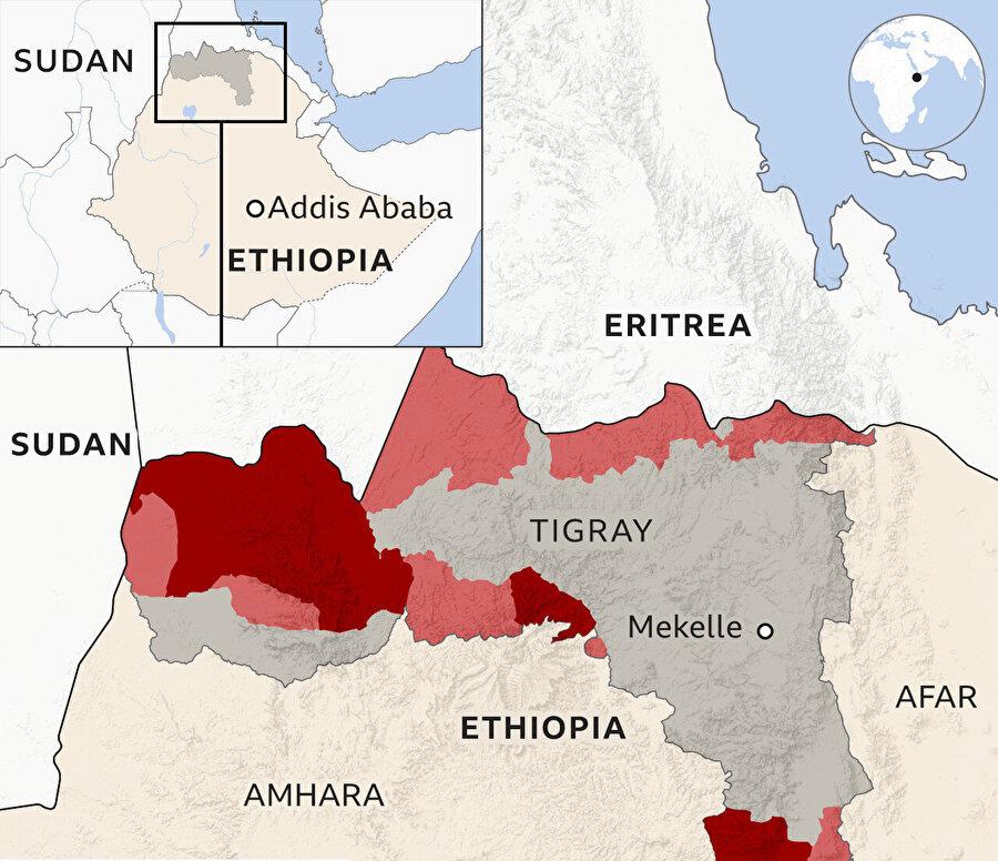 Etiyopya'da çatışmaların sürdüğü Tigray bölgesi.