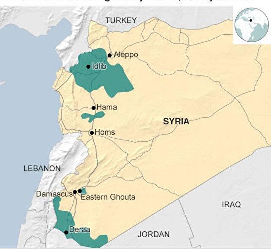 """Yeşil renkle belirtilen bölgeler; Türkiye, Rusya ve İran tarafından varılan mutabakatla ateşkes ilan edilen """"gerginliği azaltma bölgeleri"""". Grafik: BBC."""