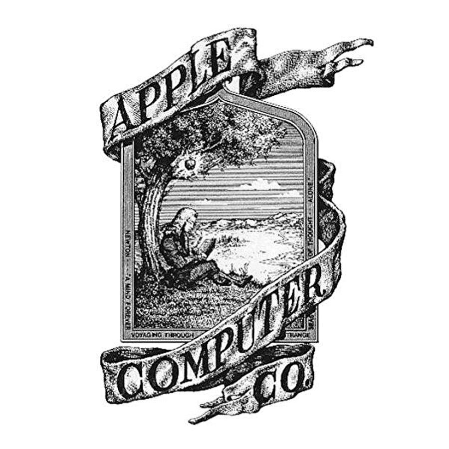 Apple'ın Tasarımcısı Ronald Wayne tarafından tasarlanan ilk logosu.