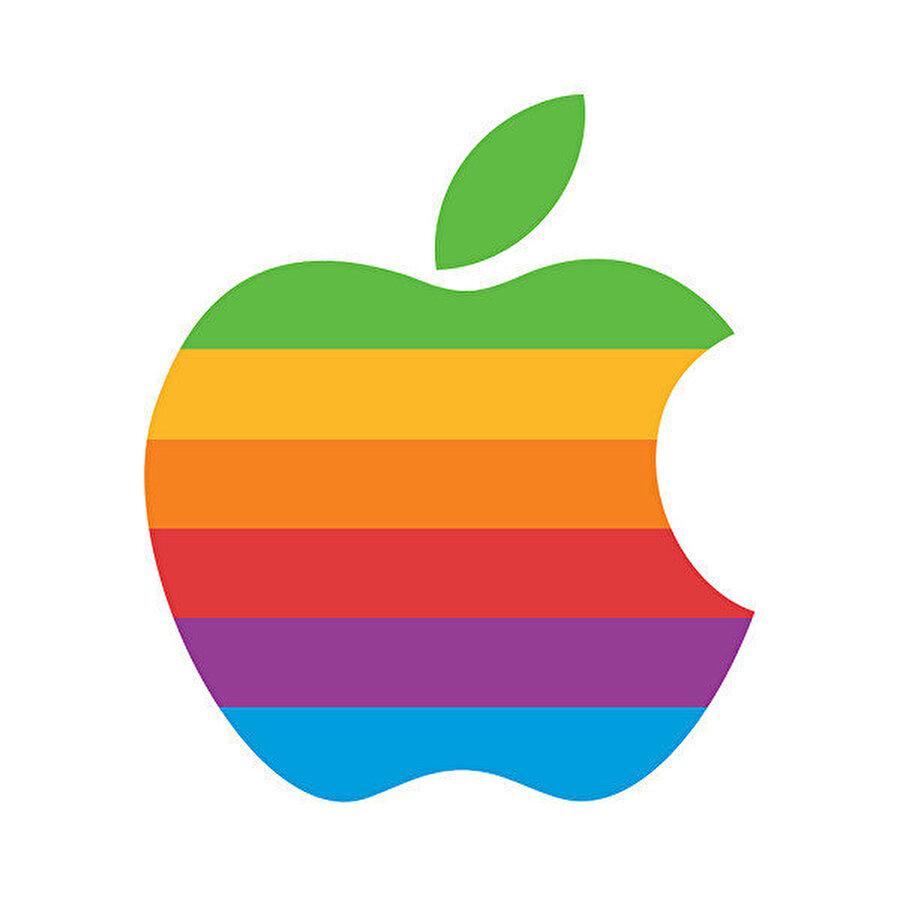 1976-1998 yılları arasında kullanılan, Rob Janoff'un Apple için tasarladığı ilk renkli logo.