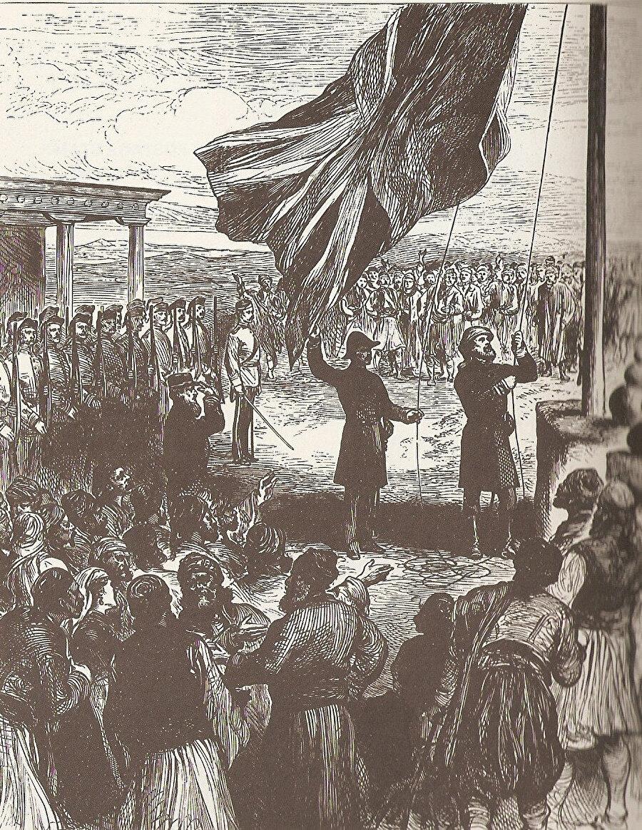 12 Temmuz 1878'de Lefkoşa'ya İngiliz bayrağının göndere çekilmesi. Çizim: London News.