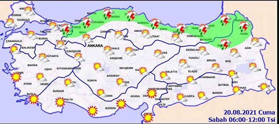 Meteoroloji'nin paylaştığı hava durumu haritası
