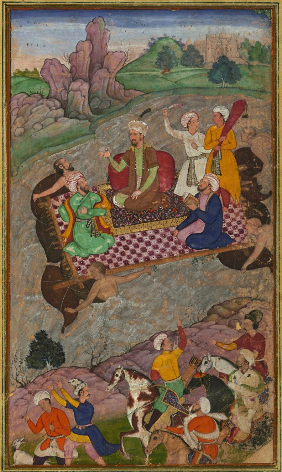 Babür Şah'ın Hindistan seferini gösteren bir minyatür.