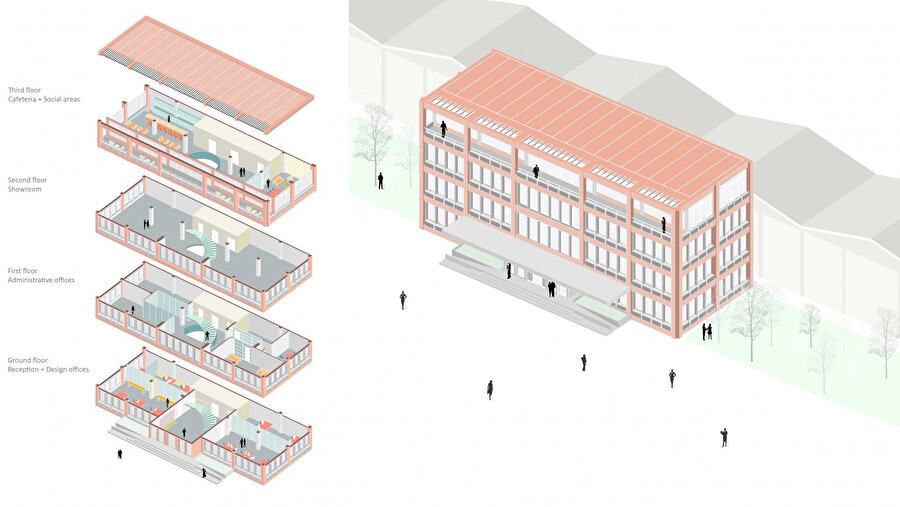 Empera İdari Binası patlatılmış perspektif görüntüsü.