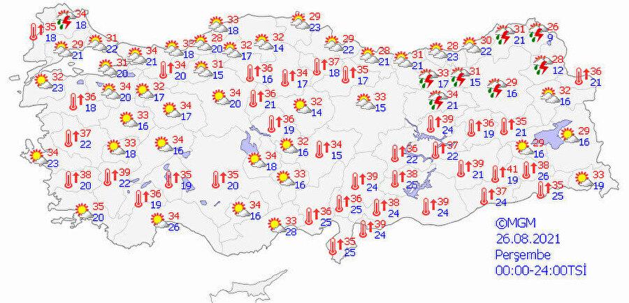 Meteoroloji hava durumu tahmin haritası