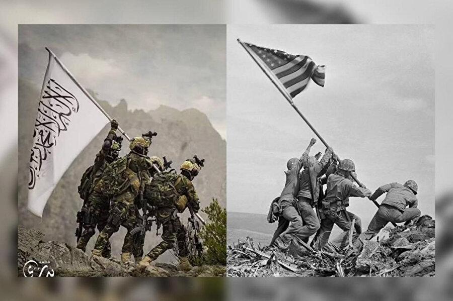 Bedrî 313'ün yeniden gündeme gelmesini sağlayan fotoğraf (soldaki) adeta ABD askerlerinin II. Dünya Savaşı'nda Iwo Jima Adası'nda çektirdiği ünlü fotoğrafa (sağdaki) misilleme niteliğinde.