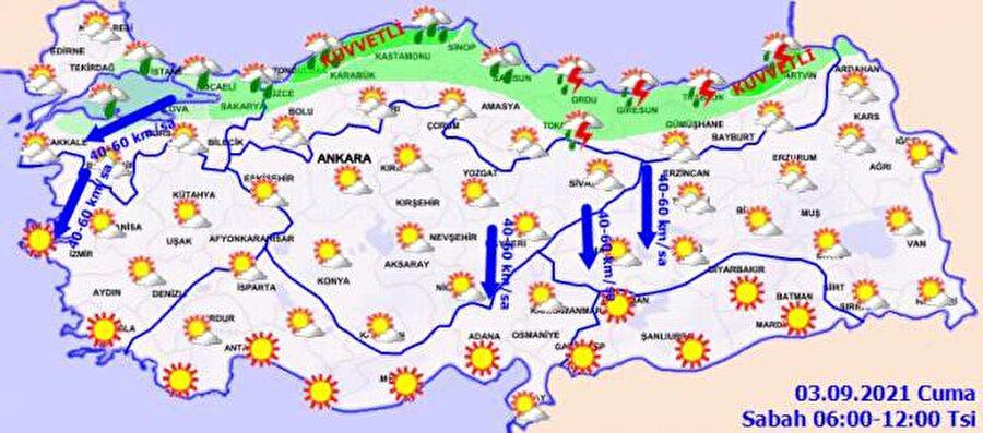 Rüzgar yönlerinin belirtildiği haritan