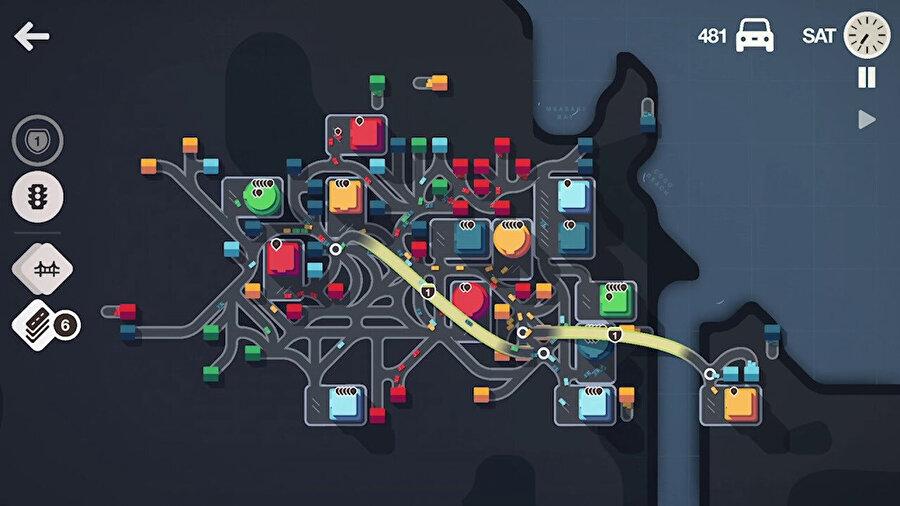 Oyun, oyuncuya renkli evleri binalara bağlamak için yollar oluşturma görevi veriyor.