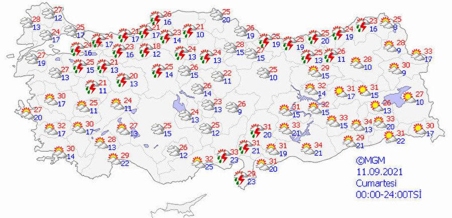 Meteoroloji'nin hava durumu tahmin haritası