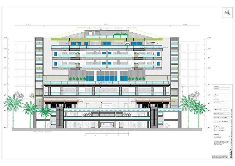 Otel bölümü 10 kattan oluşuyor.