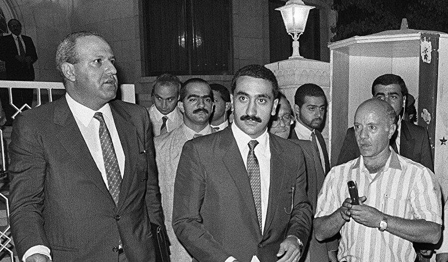 Falanjist Lübnan Güçleri'nin liderlerinden Eli Hubeyka (ortada). Fotoğraf: Gettyimages/ Maher Attar