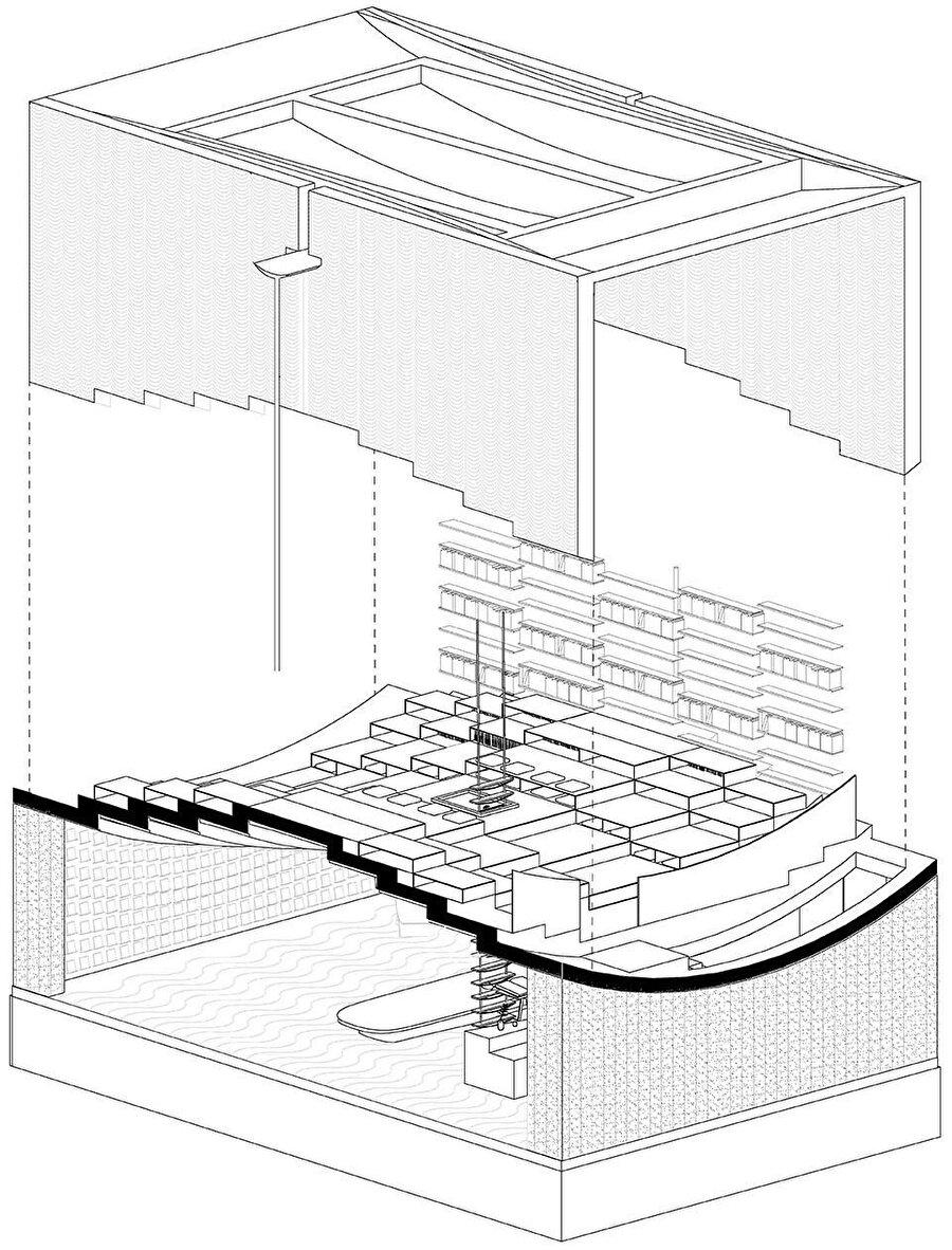 Yapının aksonometrik çizimi.