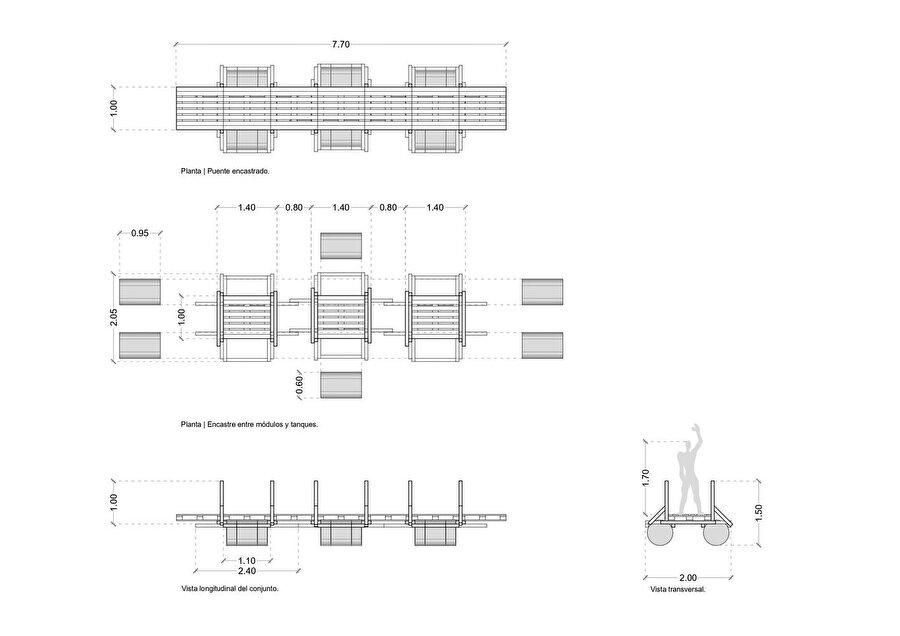 Yüzen köprünün plan, kesit ve detay çizimleri.