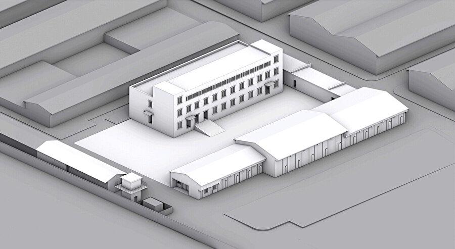 Merkezi bir avluyu çevreleyen bir dizi bina, 1970'lerde inşa ediliyor.