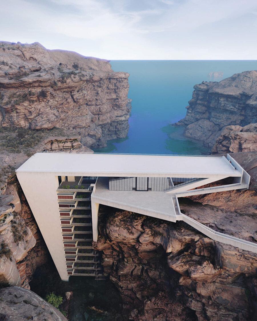 Tasarımda, bir vadi arasına ve bir su kütlesinin üzerine özenle yerleştirilen on üç katlı bir rezidans bulunuyor.