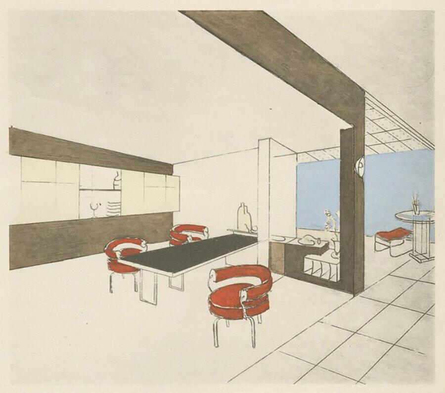 Perriand yemek odası çizimi (1927).