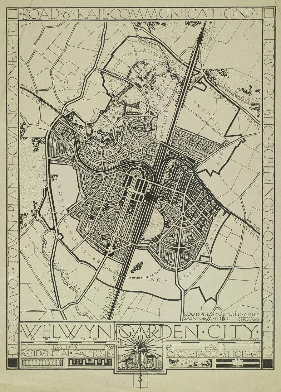 İngiltere Welwyn bahçe-şehir masterplanı.