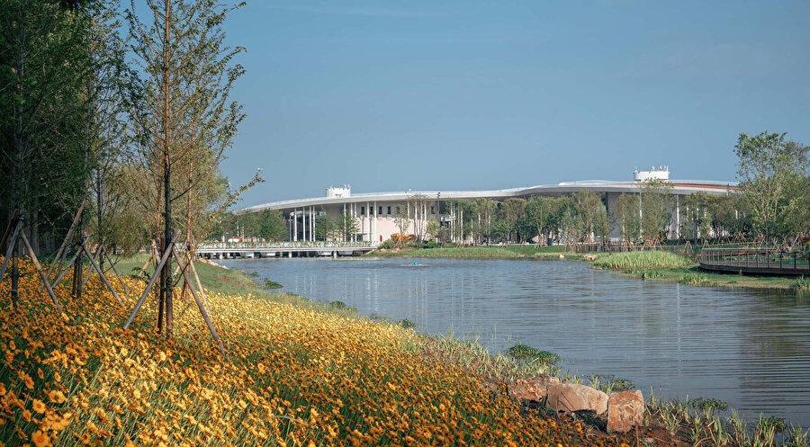 Eğimli çatı, açık kuzey cephesiyle tezat oluşturan bir çiçek duvarı oluşturuyor.