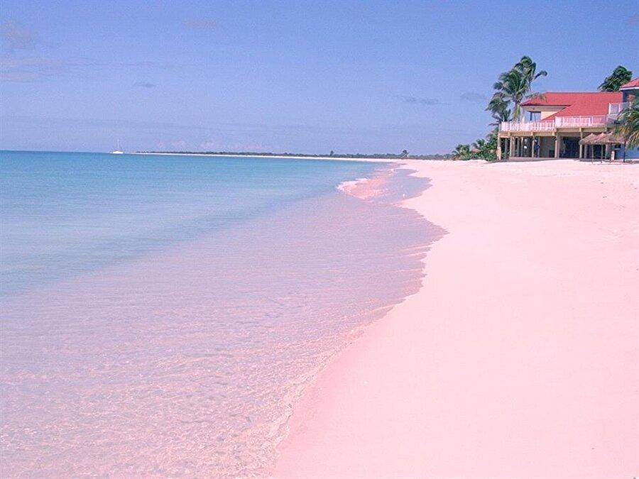 Pink Sand Beach                                          Pink Sand Beach, Türkçe anlamıyla Pembe Kum Plajı Bahamalar'da bulunuyor. Dünyanın birçok yerinde pembe kumsal bulunmasına rağmen en dikkat çekici renk tonları Bahamada'ki söz konusu plajda yer alıyor. Küçük pembe kabuklu deniz canlılarının kabuğunu bırakması ya da ölmesi sebebiyle kumsal pembe rengini koruyor.