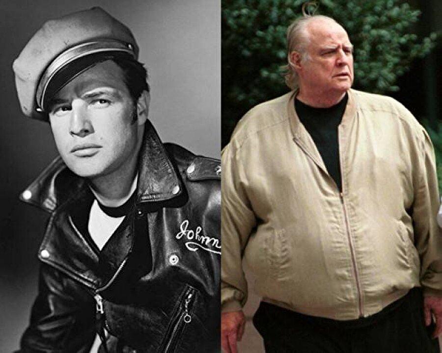 """80'lerin sonunda 158 kiloya kadar çıkar. Hayatın sonuna kadar şok diyetler ve kötü yemek yeme alışkanlığını sürdüren Marlon Brando 70 kilo kadar vermeyi becerir fakat vücudunun çoğu iç organı zarar gördüğü için sağlık durumu bir türlü iyiye dönemedi. Son filmi ise 2001 yılında Robert De Niro ve Edward Norton ile paylaştığı """"The Score"""" filmiyle oldu. Tıpkı Elvis Presley ve Orson Welles gibi kötü yemek yeme alışkanlığı onu ölüme kadar götürür. 1 Temmuz 2004'te 80 yaşında hayata gözlerini yumdu."""