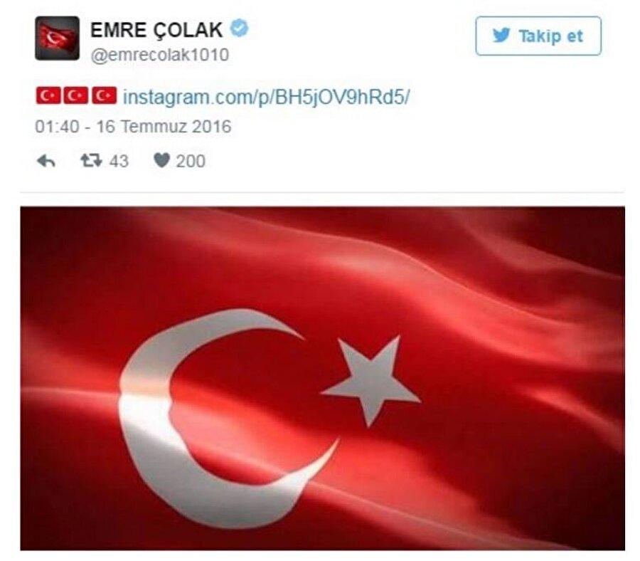 Galatasaraylı Emre Çolak, sosyal medya hesabından Türk Bayrağı görseli paylaştı.