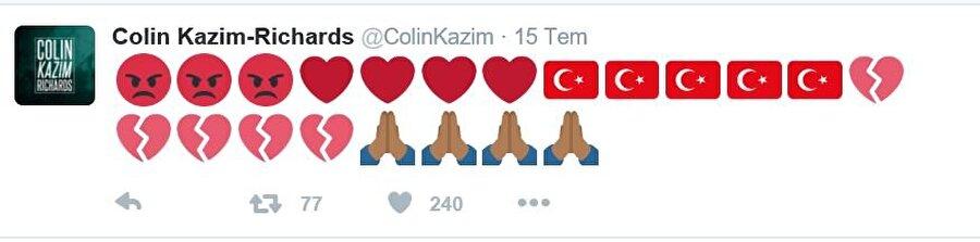 Futbol kariyerine Brezilya'nın Coritiba kentinde devam eden Colin Kazım, kalbinin ve aklının Türkiye'de olduğunu ifade etti.
