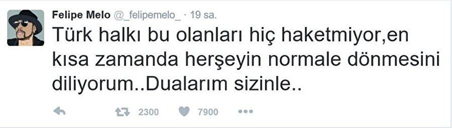 Galatasaray'dan ayrıldıktan sonra kariyerine İtalya'nın Inter takımında devam eden Melo, yaşanan acı olaylar nedeniyle Türkçe bir mesaj yayınladı.