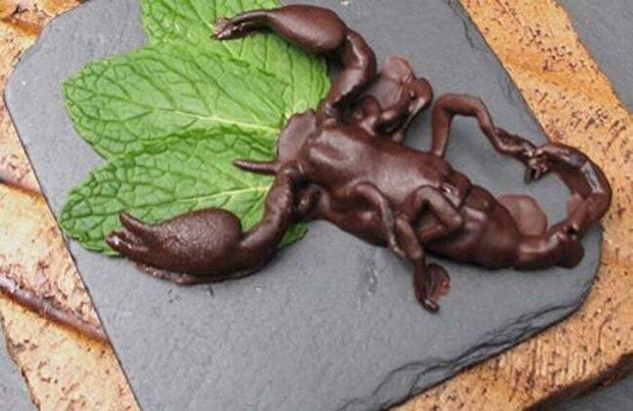 Böcek dolusu bir lezzet                                                                                                                                                                                                                                                                                                                                                                                                                        Bu çikolatanın içerisinde çilek ya da fıstık parçacıkları yok; böcek var.